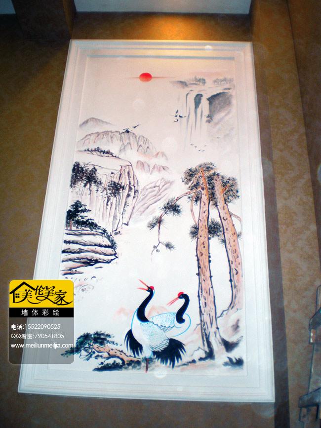 美容院山水墙绘手绘墙仙鹤墙体彩绘
