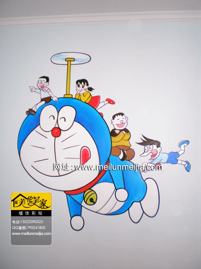机器猫天津儿童房手绘墙大熊天津墙绘小叮当-天津南开