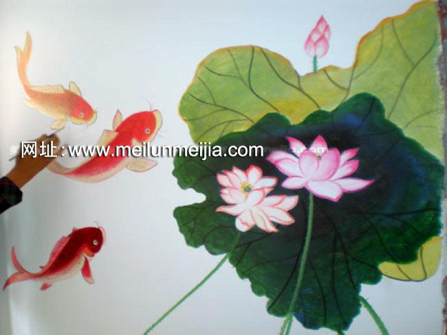 天津墙体彩绘天津墙绘手绘墙画荷花墙绘花卉手総画墙
