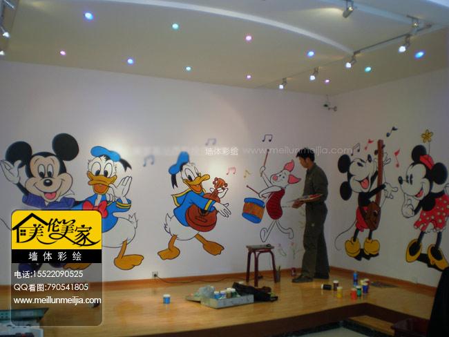 米妮墙绘手绘墙画幼儿园墙体彩绘幼儿园主题墙绘墙面装饰墙体彩绘幼