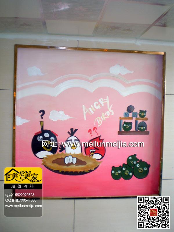 天津水果店铺墙面水果墙体彩绘愤怒的小鸟墙绘手绘墙