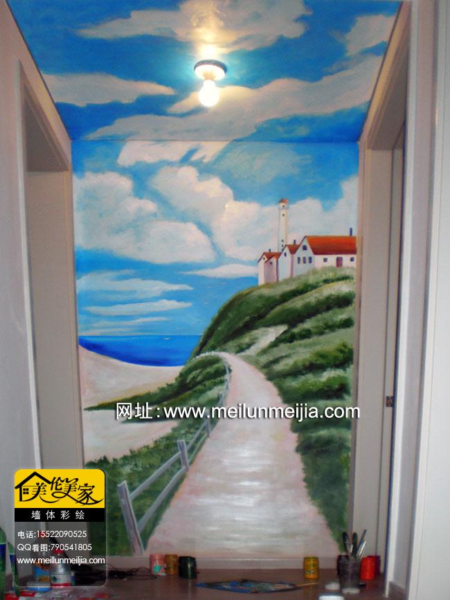 天津风景手绘墙吊顶墙绘蓝天白云墙体彩绘家房子田间小路树木室内装饰
