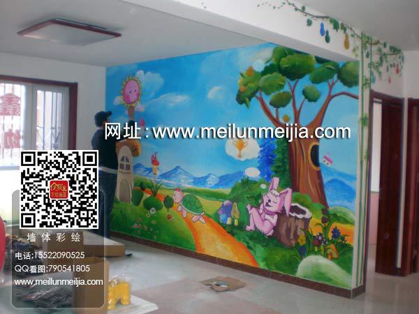 树林里住着许多许多小动物墙绘,有一只兔子手绘墙和乌龟墙体彩绘比赛
