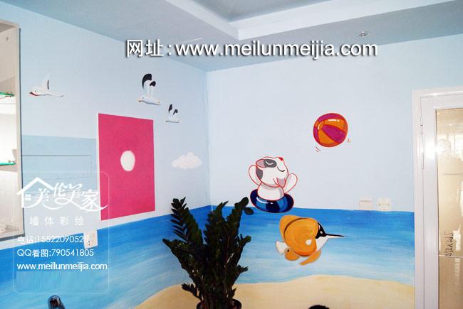 塘沽第三大街婴儿洗澡天津墙体彩绘开发区手绘墙卡通婴儿墙绘快乐游泳