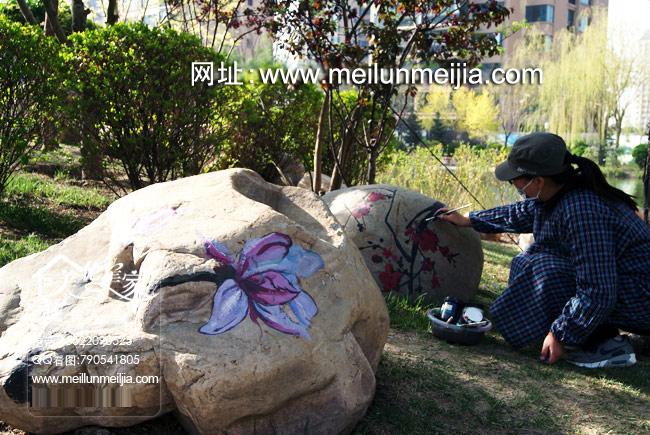 桅子花彩绘石头美化壁画,石头墙绘,创意手绘,天津墙体