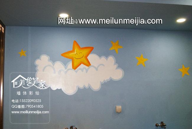 墙天津生态城miki宝贝婴童游泳馆墙体彩绘卡通儿童墙绘海豚墙体彩绘