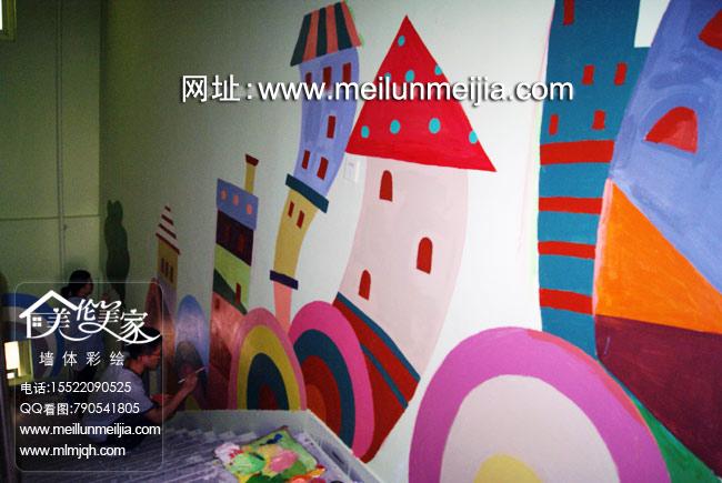 教室卡通墙体彩绘缤纷色彩创意墙面天津墙体彩绘天津墙绘天津手绘墙图片