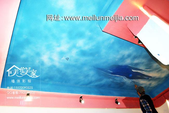 天津商场墙体彩绘东丽恒星广场墙绘大厦主题手绘墙画商铺墙画时尚竹子主题墙绘震撼3D立体画酒店