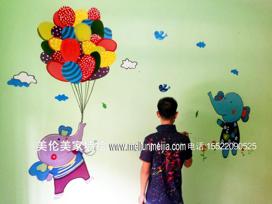 幼儿园墙体彩绘/火车墙绘/可爱卡通动物手绘墙