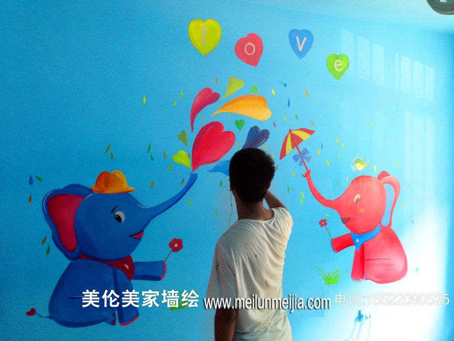大象墙绘/气球墙体彩绘/会飞的大象手绘墙/幼儿园墙绘/天津墙绘/天津