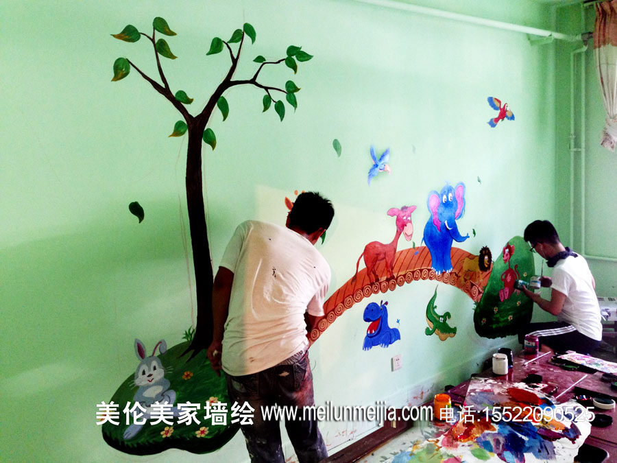 天津西青启蒙幼教墙体彩绘幼儿园学校主题墙绘早教中心墙画/益智类图片
