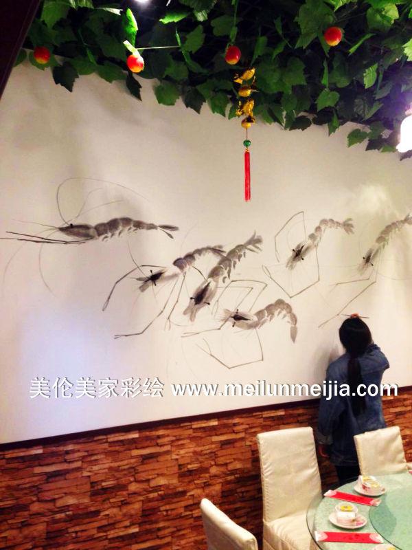 创意墙绘/酒店墙体彩绘/海鲜楼墙绘/船手绘墙画/天津墙体彩绘/天津