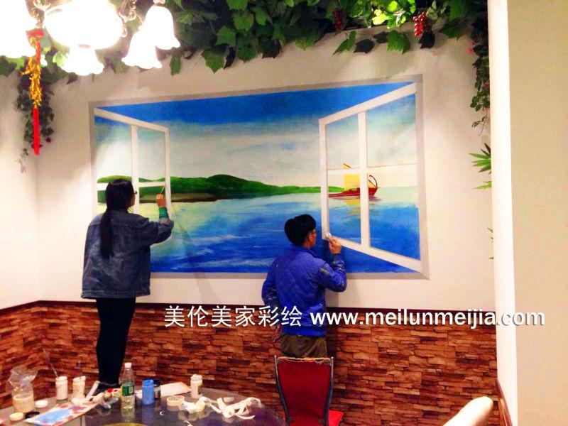 手绘墙画/天津餐厅酒店荷花类墙体彩绘/花卉彩绘/店铺装修墙画/主题彩