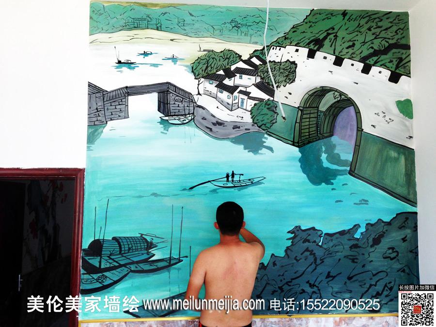 手绘墙饭店墙画酒店墙面彩画风景彩绘商铺墙绘天津墙绘天津墙体彩绘天