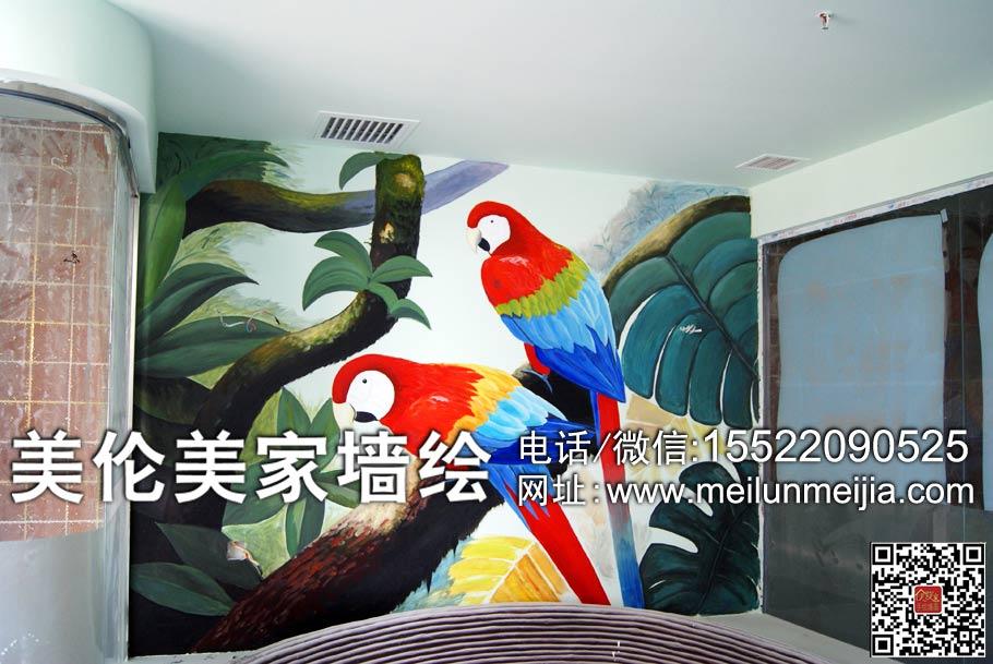 鹦鹉墙绘,天津墙绘,天津墙体彩绘,天津手绘墙画了,