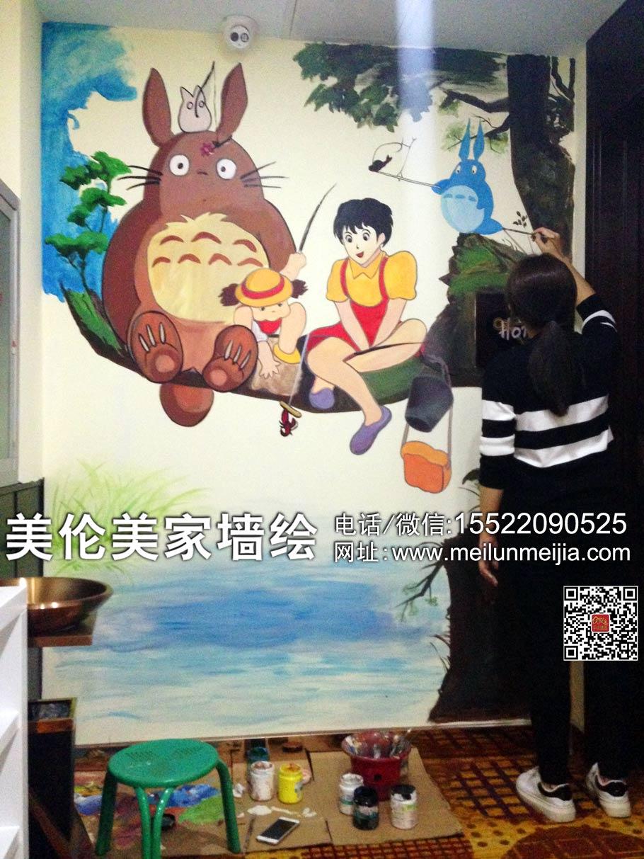 天津墙体彩绘,天津墙绘,天津手绘墙,家装墙绘,客厅手绘墙,玄观彩绘